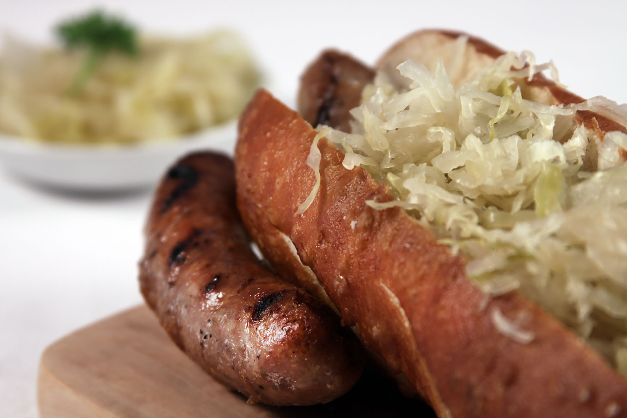Bratwurst with Apple Sauerkraut